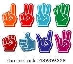 foam fingers vector set.... | Shutterstock .eps vector #489396328