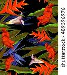 seamless tropical flower  plant ... | Shutterstock . vector #489396976
