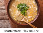 chinese food  corn soup with... | Shutterstock . vector #489408772