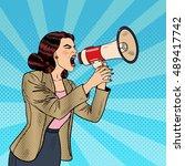 pop art business woman shouting ... | Shutterstock .eps vector #489417742