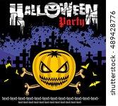 halloweens poster banner  | Shutterstock .eps vector #489428776