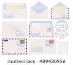 set of envelopes  postal signs. ... | Shutterstock .eps vector #489430936