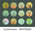 trees set. collection of trees.... | Shutterstock . vector #489435082