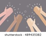 human hands clapping ovation.... | Shutterstock .eps vector #489435382