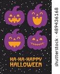 happy halloween card design.... | Shutterstock .eps vector #489436168