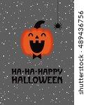 happy halloween card design.... | Shutterstock .eps vector #489436756