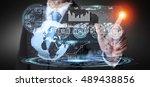 businessman touching digital... | Shutterstock . vector #489438856