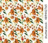 seamless pattern with orange... | Shutterstock . vector #489442765