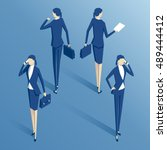 isometric  businesswoman... | Shutterstock .eps vector #489444412