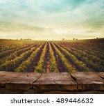 wooden table. spring design... | Shutterstock . vector #489446632