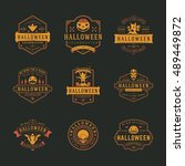 halloween celebration labels...   Shutterstock .eps vector #489449872