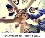 college students teamwork... | Shutterstock . vector #489451012
