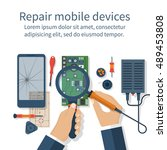 repair mobile phone. vector... | Shutterstock .eps vector #489453808