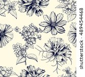 Stock vector seamless hand drawn pattern dark blue flowers cosmea and hortensia vintage design flowers are 489454468