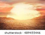image of sunset at desert. you... | Shutterstock . vector #489455446