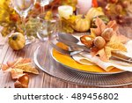 autumn place setting with...   Shutterstock . vector #489456802