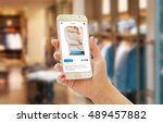 woman on line shopping with... | Shutterstock . vector #489457882