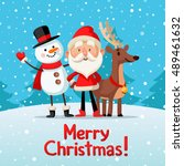 christmas picture with santa ... | Shutterstock .eps vector #489461632