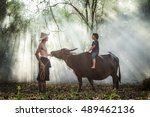 asian farmer talking with his...   Shutterstock . vector #489462136