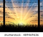 illegal immigration. silhouette ... | Shutterstock . vector #489469636