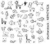 set of drawing doodle of cute... | Shutterstock .eps vector #489474526