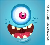 cartoon monster face. vector... | Shutterstock .eps vector #489475102