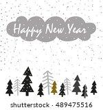 happy new year hand drawn ... | Shutterstock .eps vector #489475516