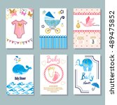 baby shower set. vector... | Shutterstock .eps vector #489475852