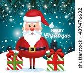 merry christmas card santa and... | Shutterstock .eps vector #489476632