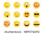 smiling sun emoticons. vector... | Shutterstock .eps vector #489476692