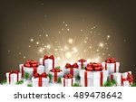 christmas background with gifts ... | Shutterstock .eps vector #489478642