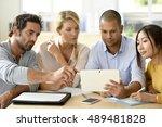 business people meeting around... | Shutterstock . vector #489481828
