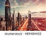 scenic skyline of a big... | Shutterstock . vector #489484432
