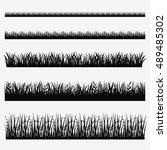 grass icon set. vector grass... | Shutterstock .eps vector #489485302
