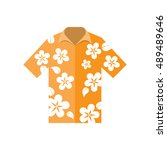 shirt hawaiian flowers vector... | Shutterstock .eps vector #489489646
