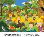 cartoon scene with kids having...   Shutterstock . vector #489490102
