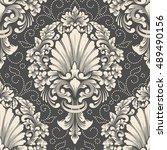 vector damask seamless pattern... | Shutterstock .eps vector #489490156