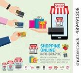 online shopping concept. mobile ...   Shutterstock .eps vector #489491308