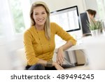 portrait of middle aged blond... | Shutterstock . vector #489494245