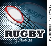 rugby ball flying with... | Shutterstock .eps vector #489494956