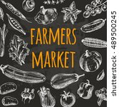 farmers market card with... | Shutterstock .eps vector #489500245