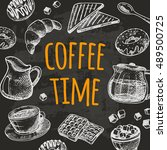 coffee time card with elements... | Shutterstock .eps vector #489500725