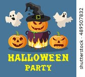 halloween party. vector... | Shutterstock .eps vector #489507832