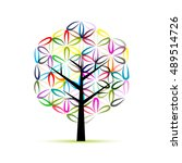 flower of life. art tree ... | Shutterstock .eps vector #489514726