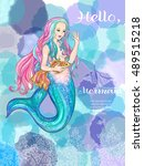 hand drawn mermaid holding a... | Shutterstock .eps vector #489515218