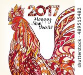decorative colored rooster.... | Shutterstock .eps vector #489515482