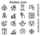 strategy icon set in thin line... | Shutterstock .eps vector #489516472