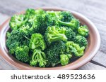 cooked broccoli on the plate | Shutterstock . vector #489523636