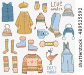 vector cute hand drawn set... | Shutterstock .eps vector #489525592