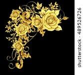 golden element with roses  ... | Shutterstock . vector #489526726